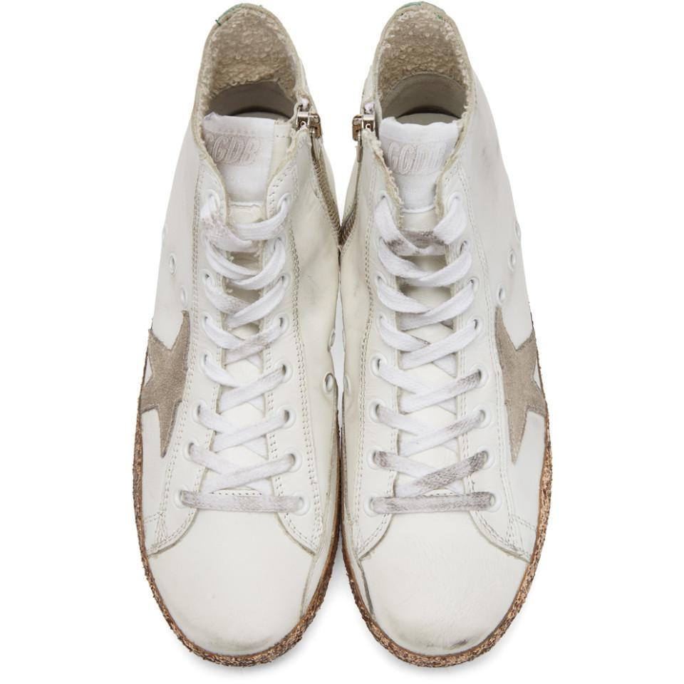 Golden Goose Deluxe Brand Leather White & Gold Francy High-top Sneakers