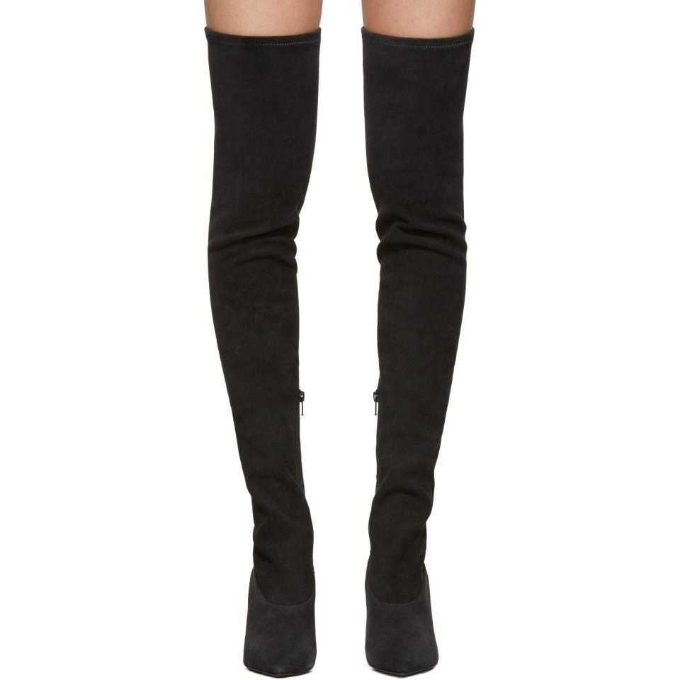 Yeezy Black Suede Thigh-high Boots