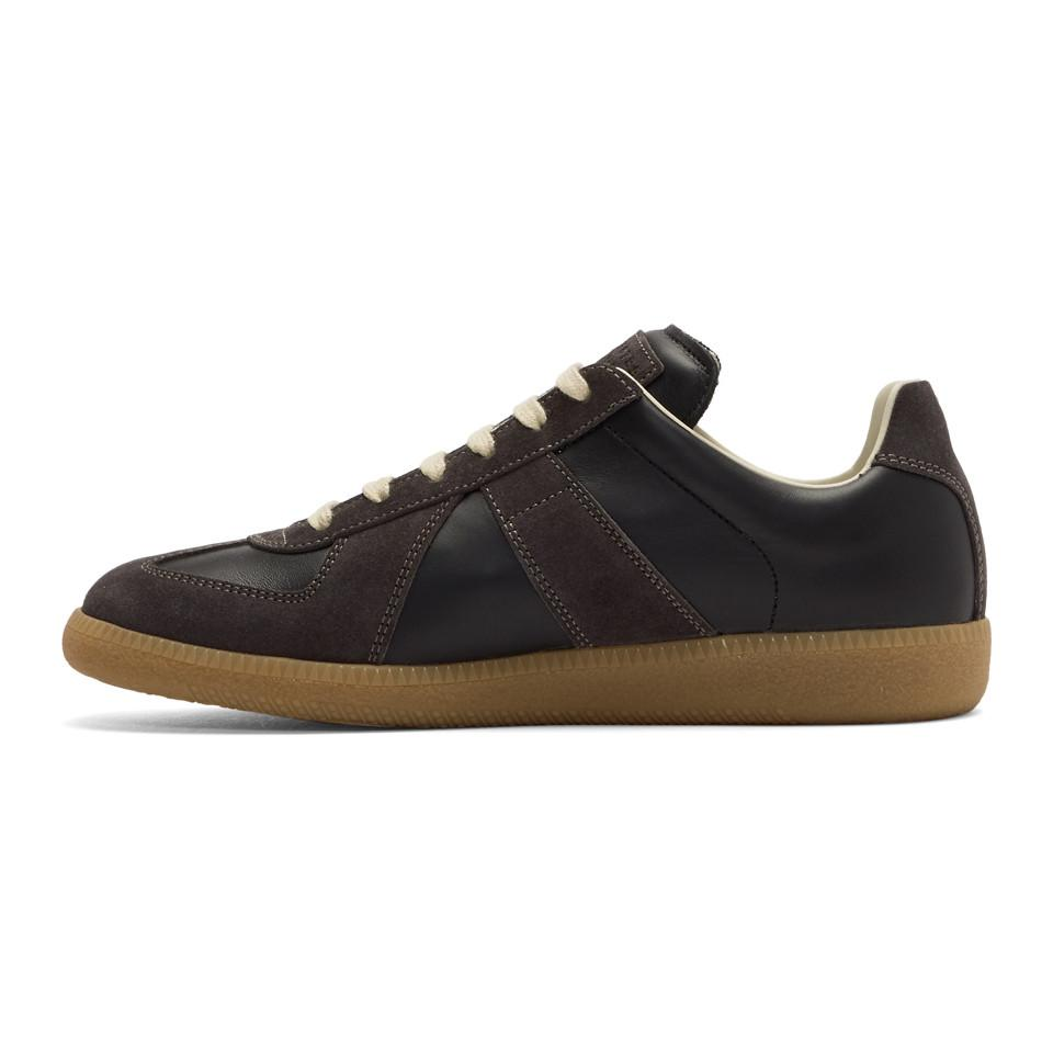 Maison Margiela Replica Suede-panel Leather Trainers in Black for Men