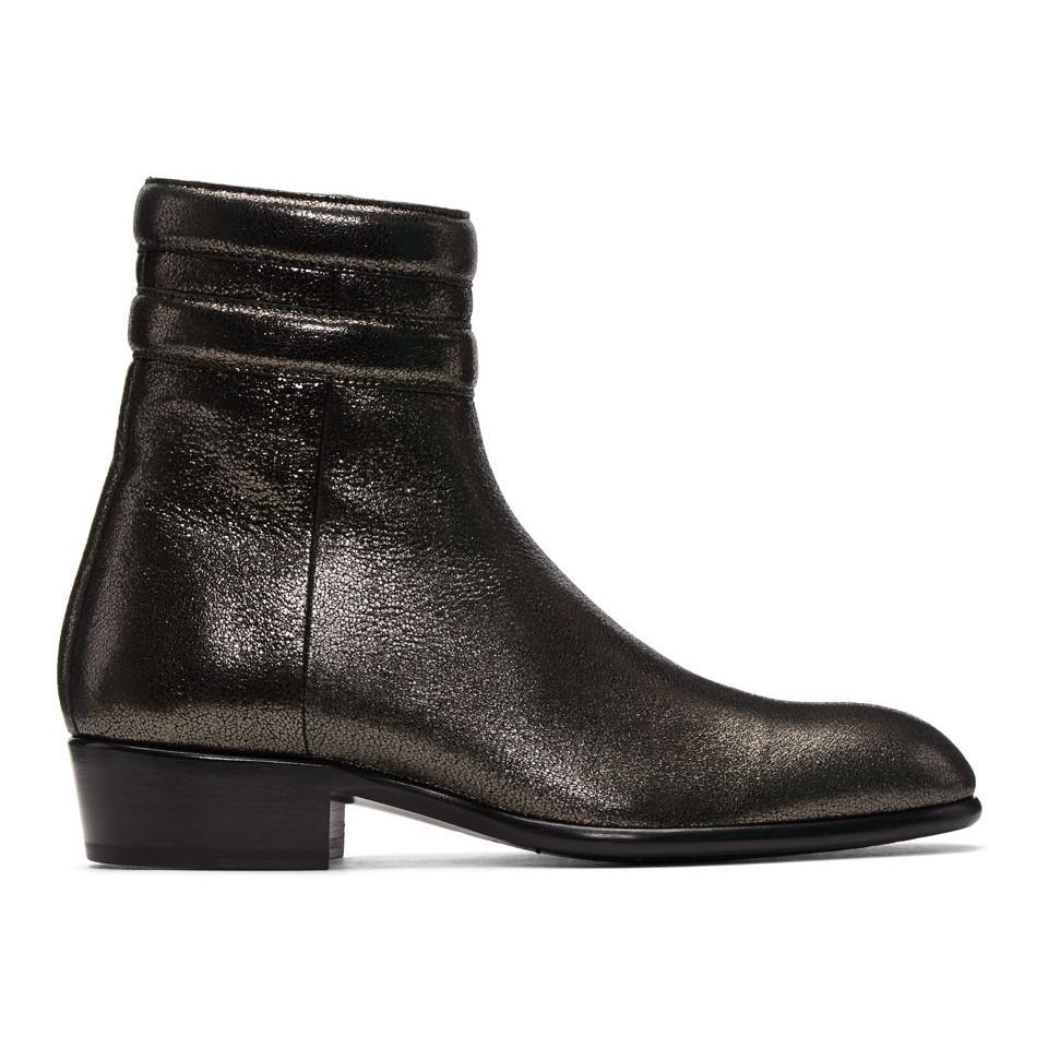 Valentino Gunmetal Metallic Jimi Boots EtW8ZH1Xp