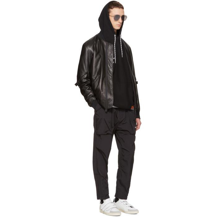 Helmut Lang Synthetic Black Belted Trousers for Men