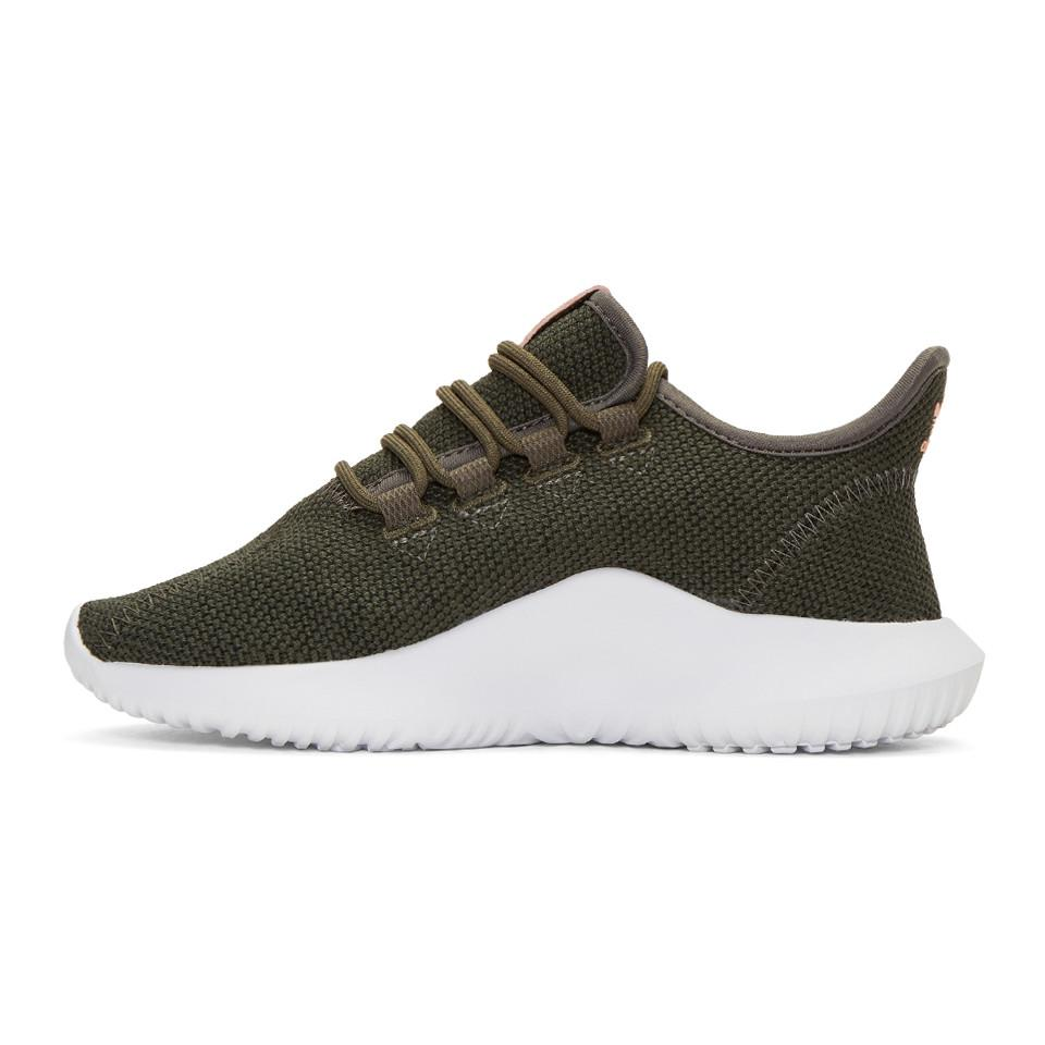 adidas Originals Leather Green Tubular Shadow Sneakers