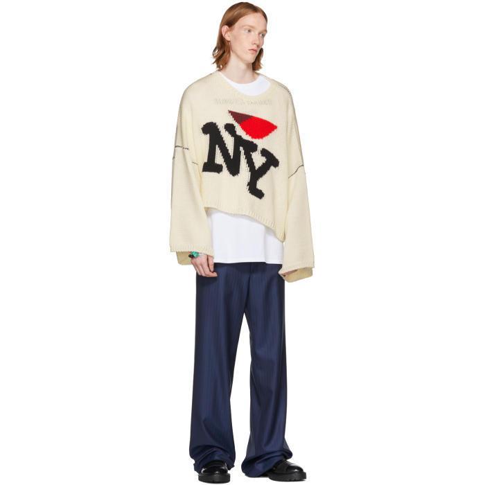 Raf Simons New York Oversized Wool Knit Sweater In White For Men Lyst
