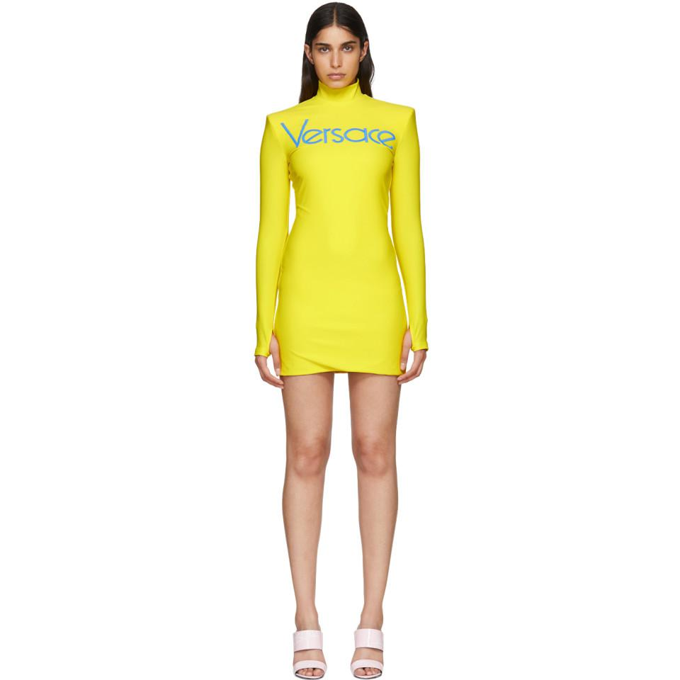 Yellow Embroidered Logo Jersey Dress - Lyst