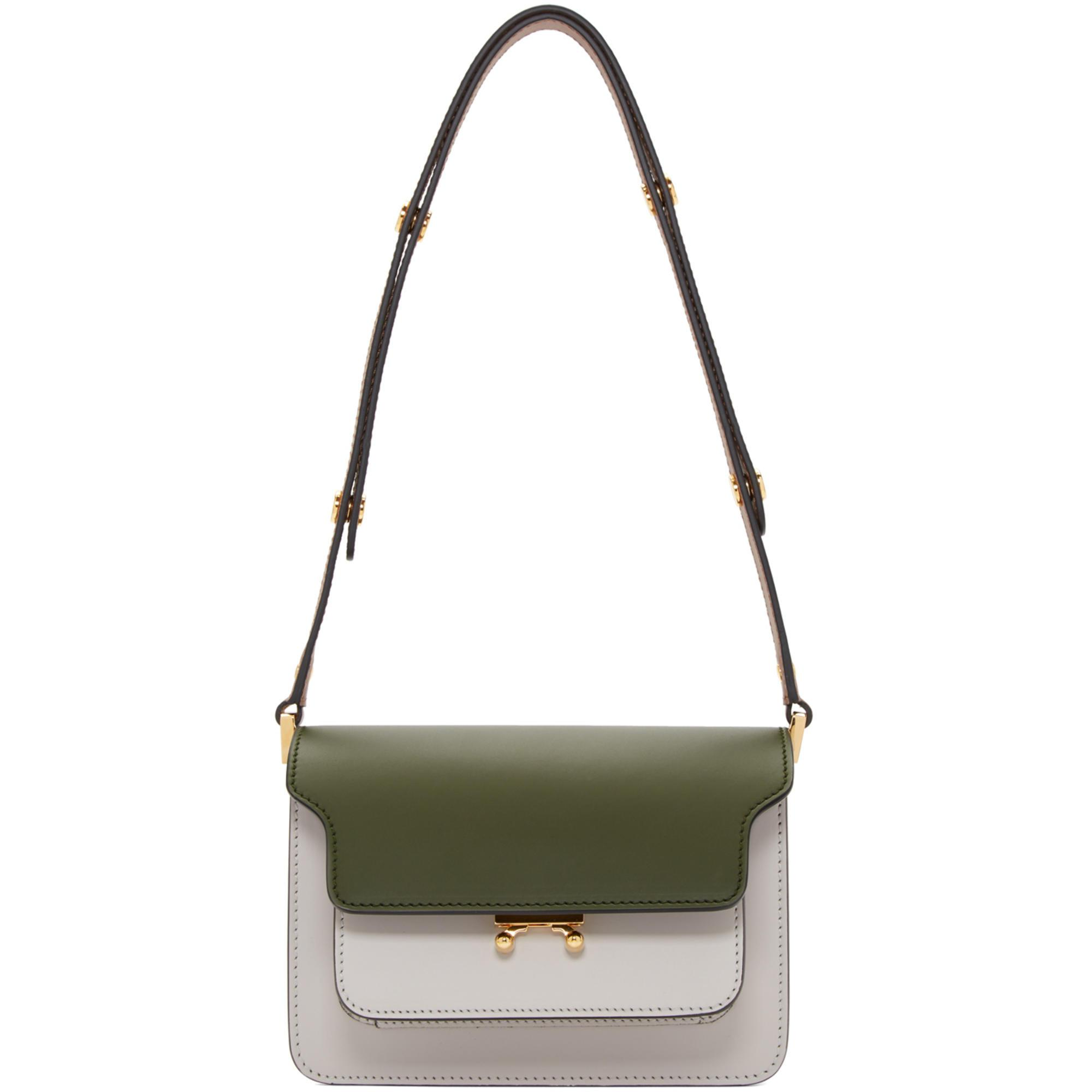 Marni Leather Green And Grey Small Trunk Bag - Lyst