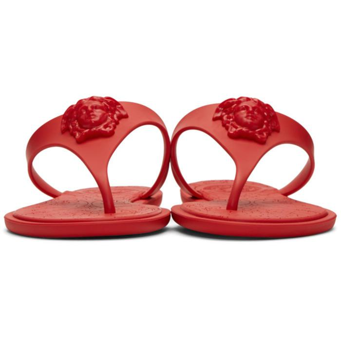 9a48e080db5c7 Lyst - Versace Medusa Rubber Slides in Red
