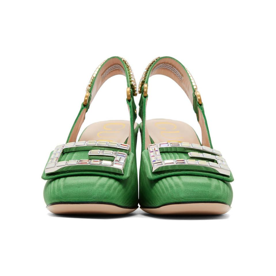989a0e7c54 Gucci Green Moire Madelyn Slingback Heels in Green - Save 44% - Lyst