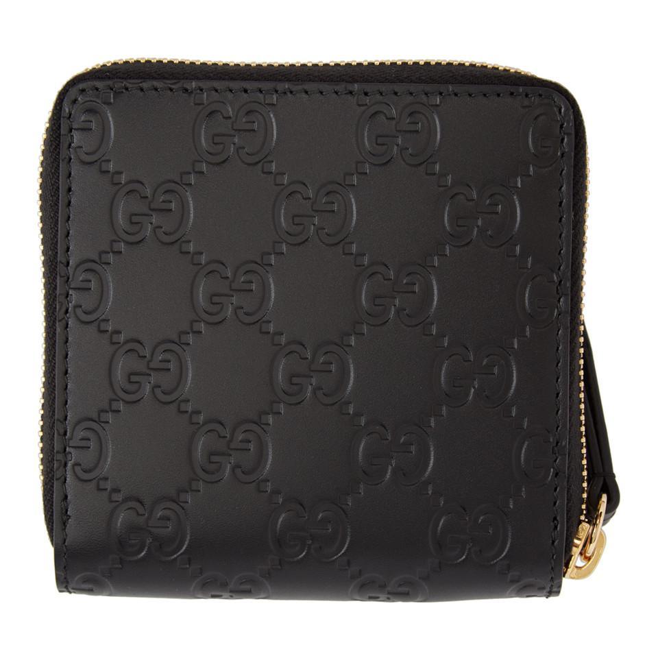 1366e58afdb6 Gucci - Black Signature Zip-around Wallet - Lyst. View fullscreen