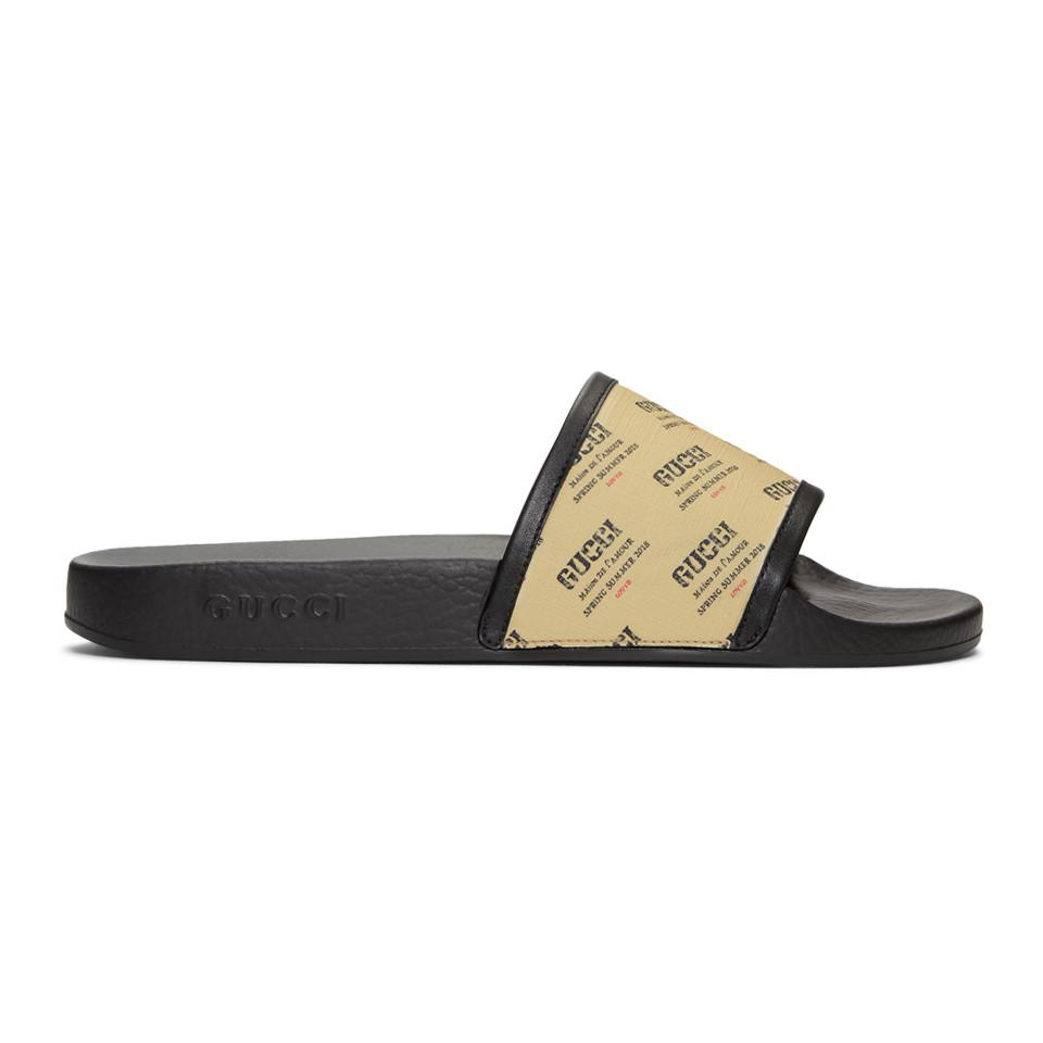 Gucci Off- All Over Logo Stamp Pursuit Slides OCO9YYpV14