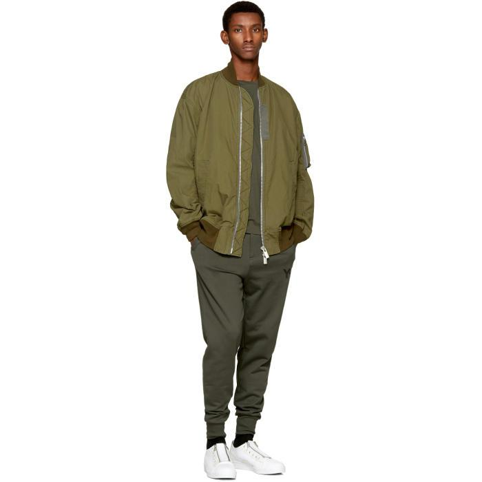 Y-3 Cotton Green Classic Cuffed Lounge Pants for Men