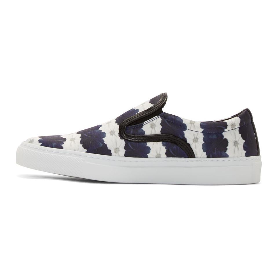 MOTHER OF PEARL White & Navy Floral Stripe Achilles Slip-On Sneakers