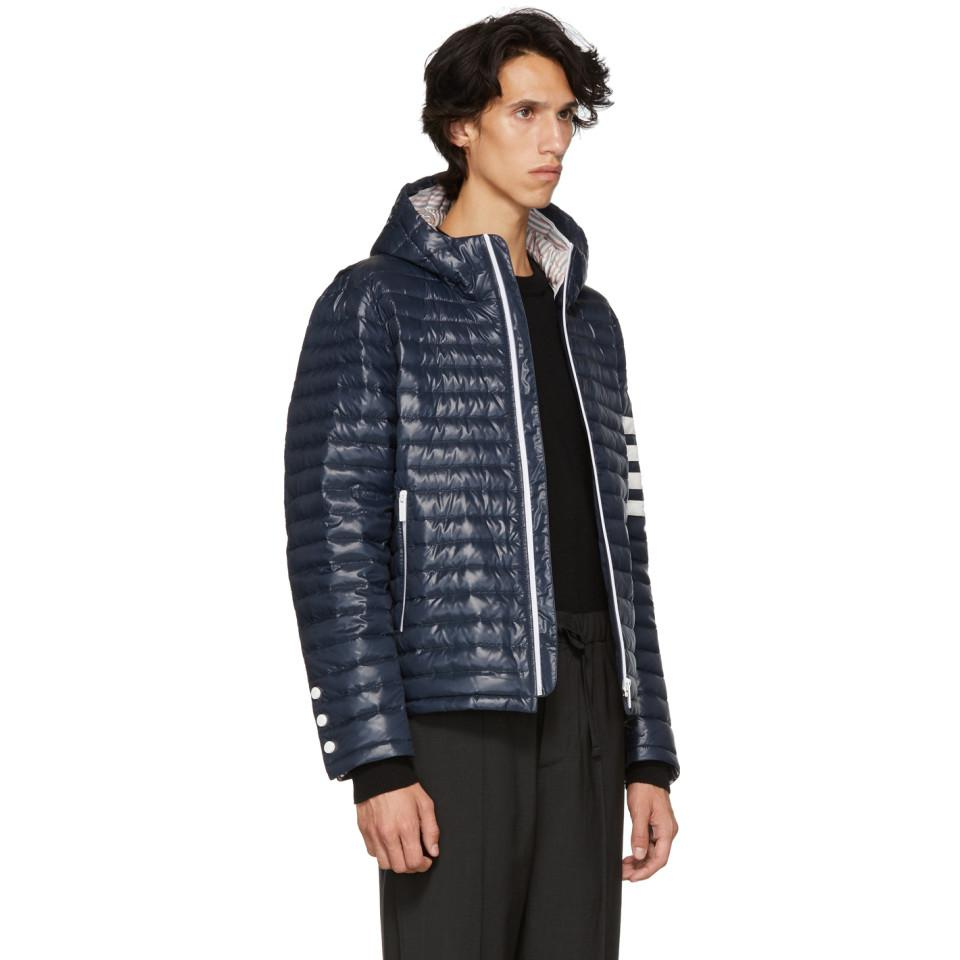 Thom Browne Satin Navy Quilted Four Bar Jacket in Blue for Men