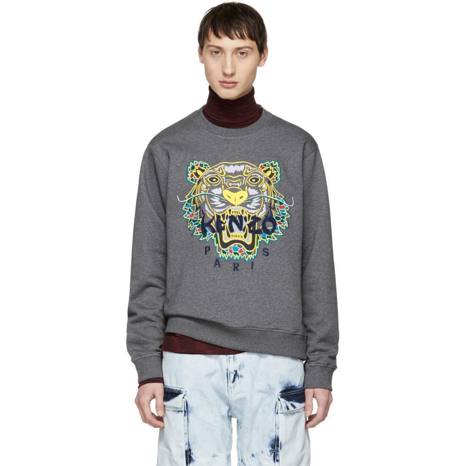 09f833a21 KENZO Grey Limited Edition Dragon Tiger Sweatshirt in Gray for Men ...