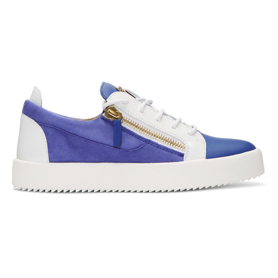 Giuseppe Zanotti White & Blue Flashy May London Sneakers x2MfZ