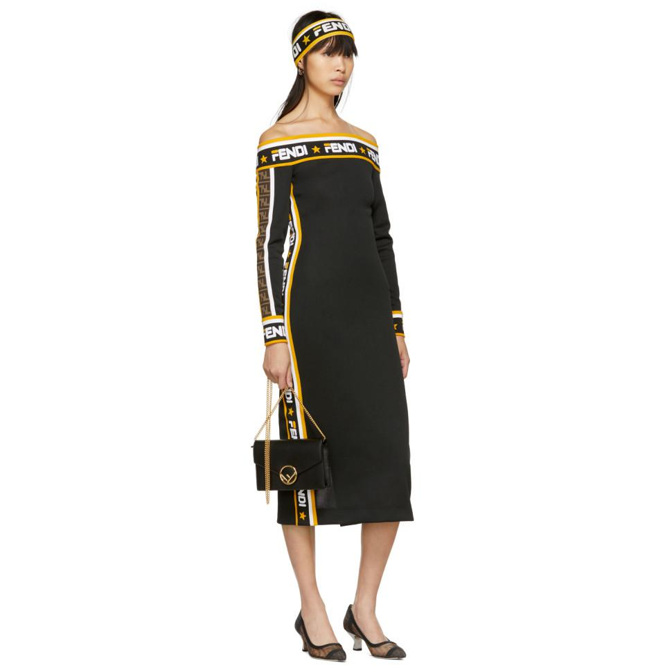0d1483729f7e Fendi Black Mania Off-the-shoulder Dress in Black - Save 7% - Lyst
