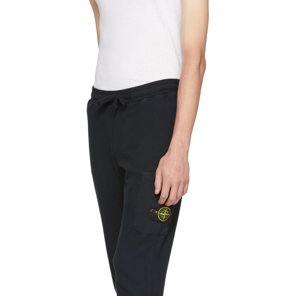 Stone Island Navy Logo Badge Lounge Pants in Blue for Men