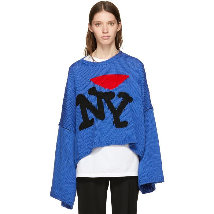 Lyst Raf Simons Blue Oversize I Love Ny Sweater In Blue