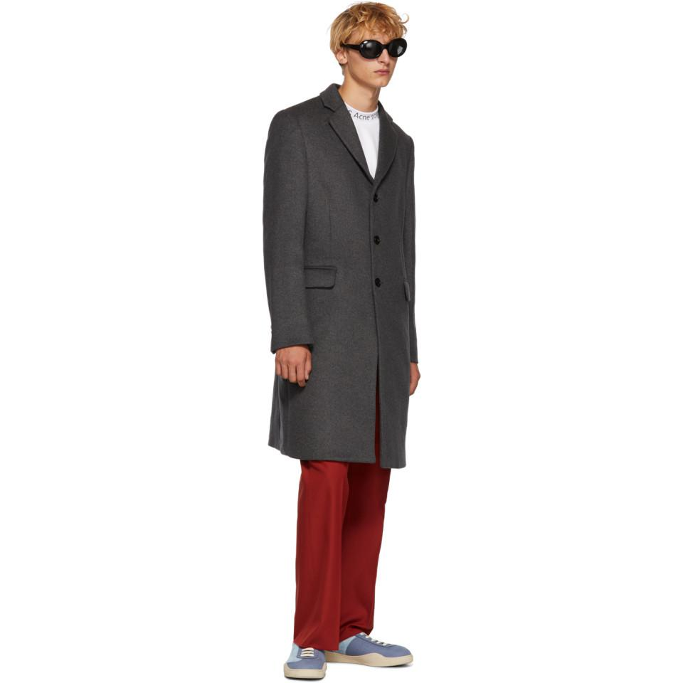 Acne Studios Cotton Red Twill Boot Cut Trousers for Men