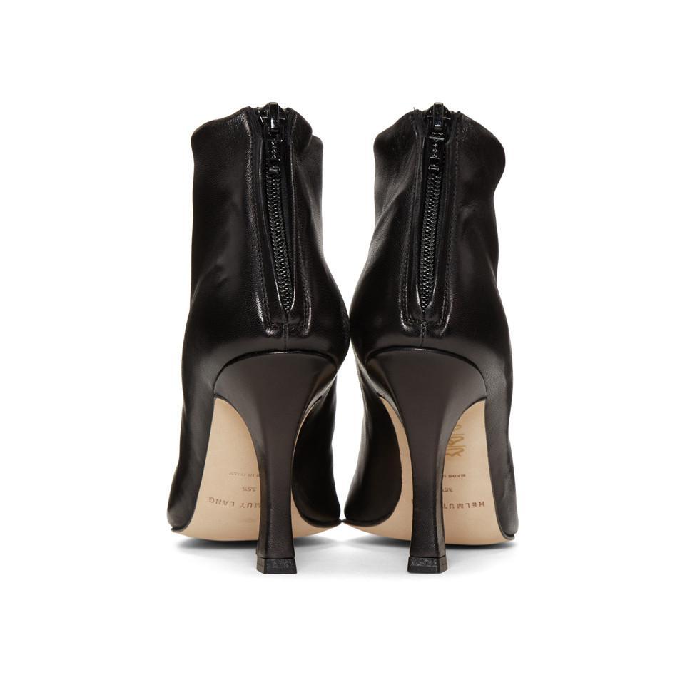 Helmut Lang Leather Black Glove Boots
