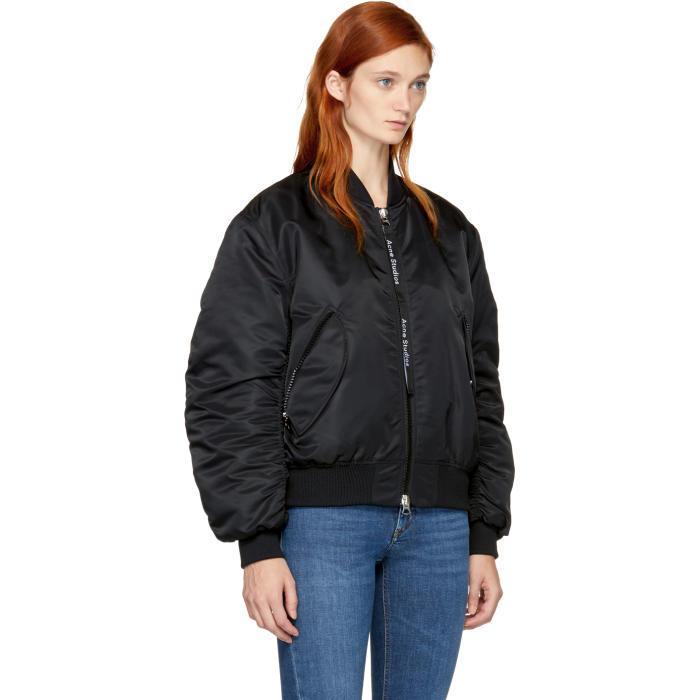 Lyst Acne Black Clea Bomber Jacket In Black