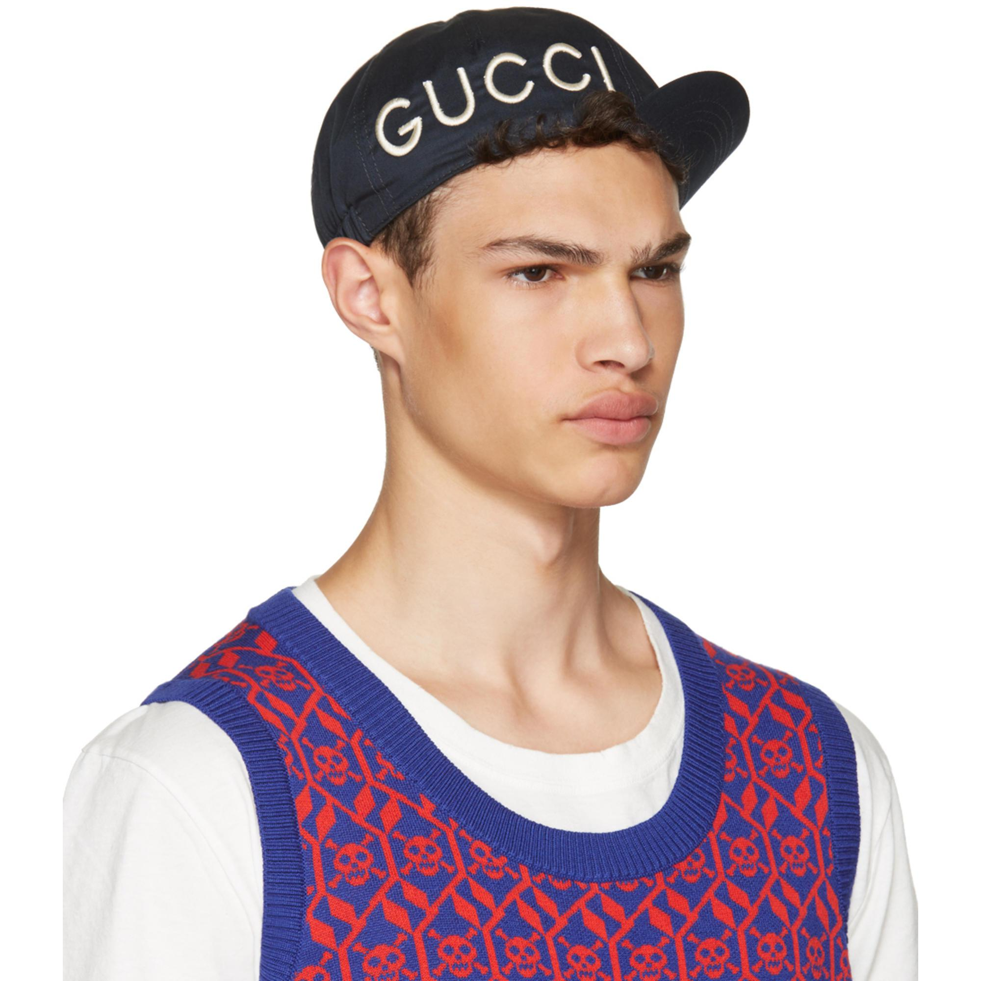Lyst Gucci Navy Loved Cycle Cap In Blue For Men