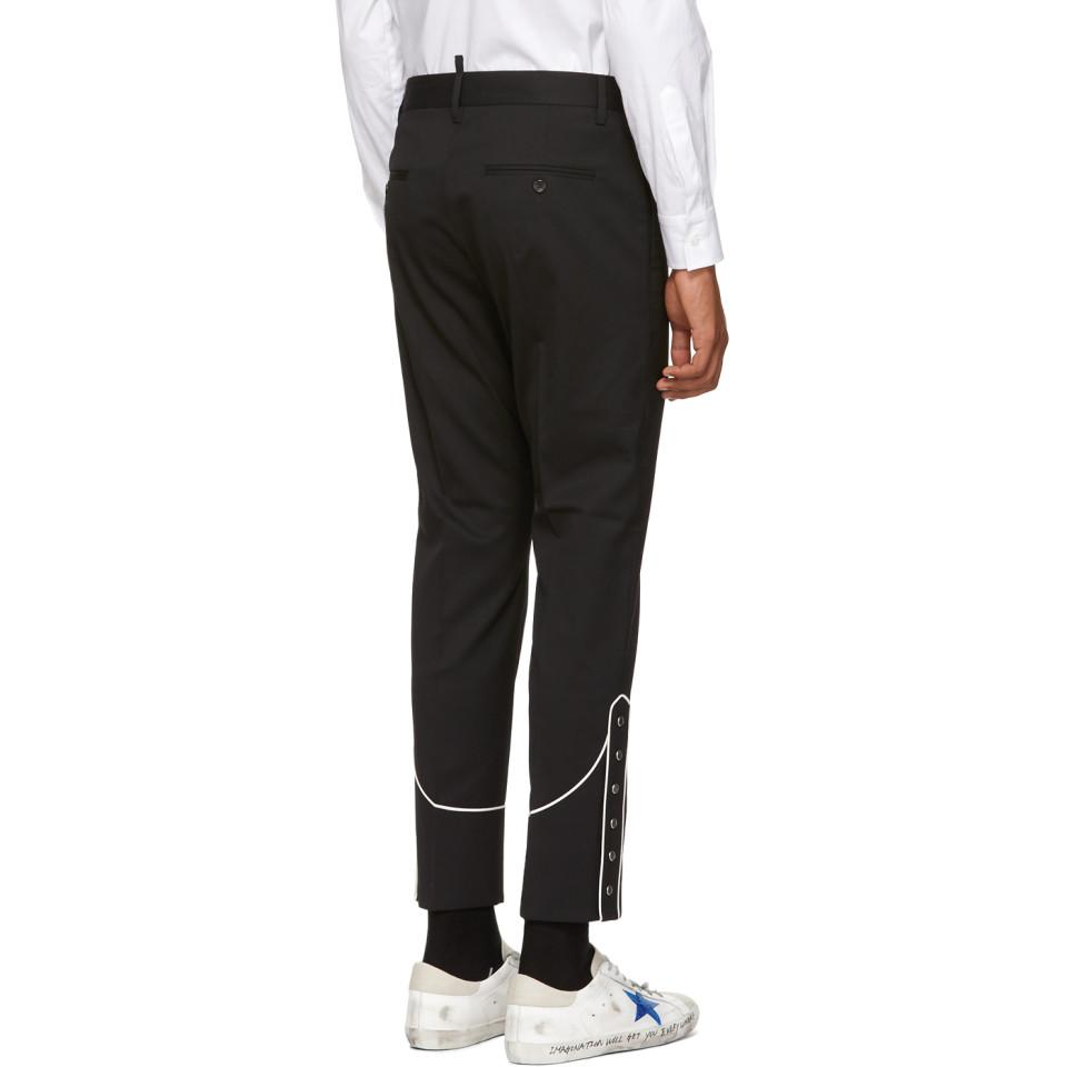 DSquared² Black Stretch Wool Cigarette Trousers for Men