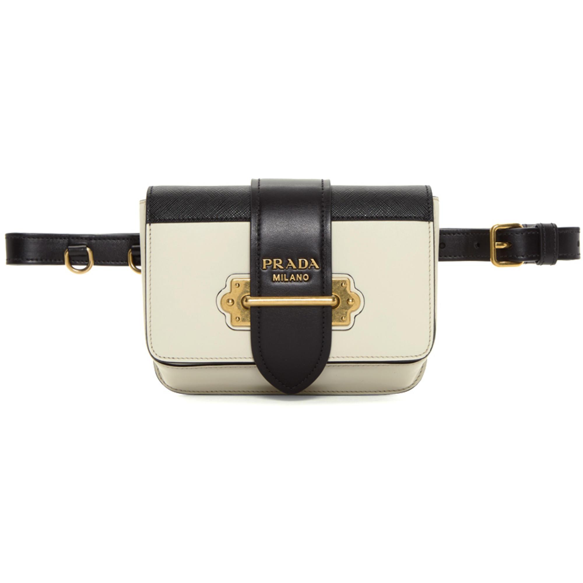 6ae95d878935 Prada Off-white And Black Belt Bag in White - Lyst