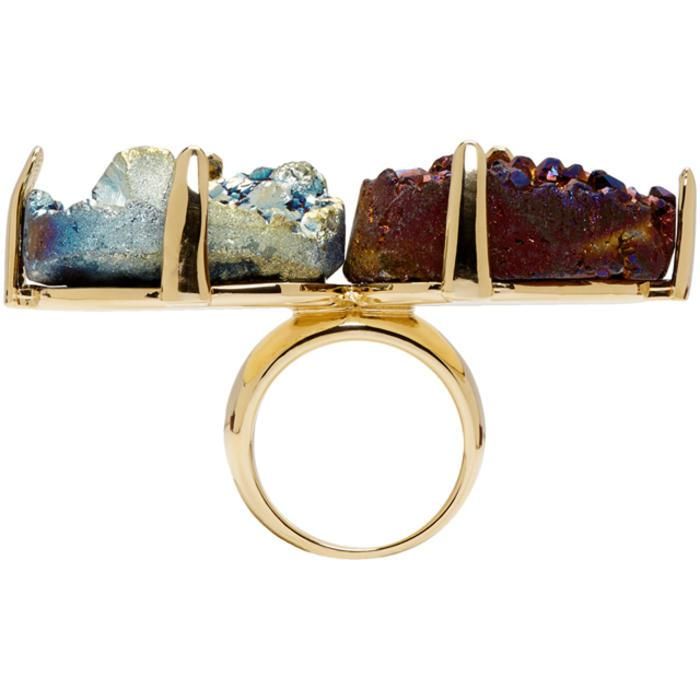 Christopher Kane Gold & Multicolor Double Stone Ring in Metallic