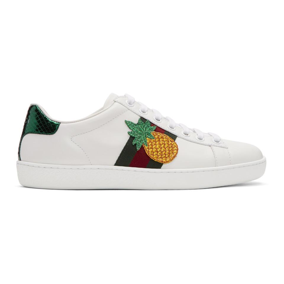 Gucci Pineapple Amp Ladybug Ace Sneakers In White Lyst