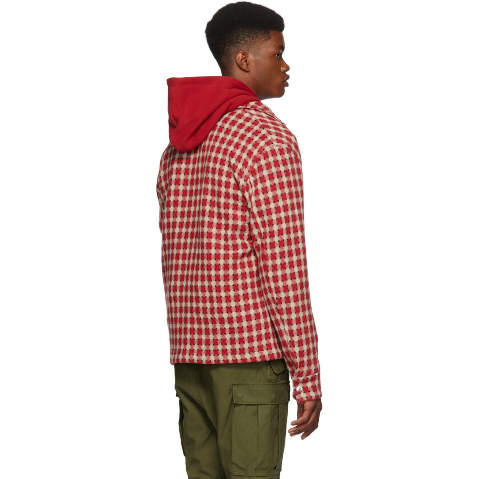 Simon Miller Wool Red Dimensional Plaid Shirt for Men