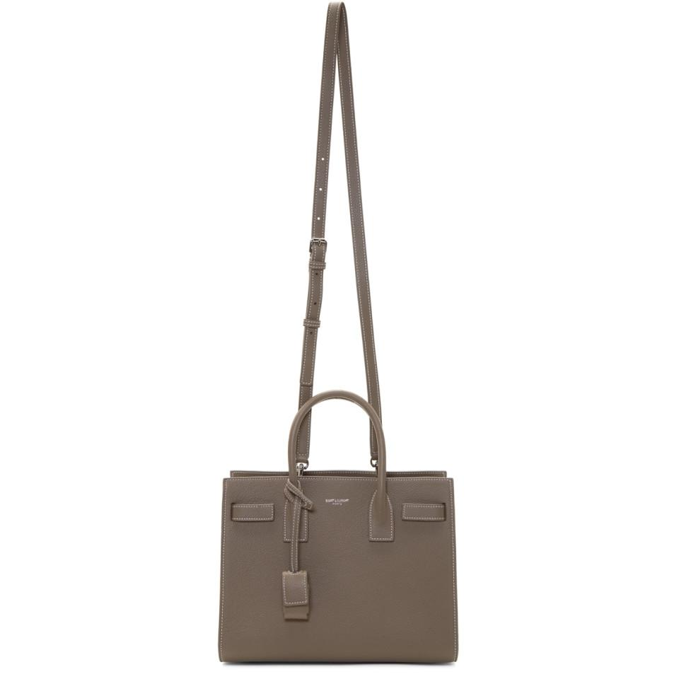 979343b1d8 Saint Laurent Taupe Baby Sac De Jour Tote Bag in Brown - Lyst