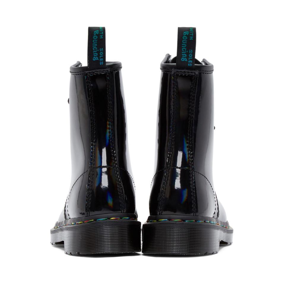 Black Iridescent Rainbow 1460 Boots