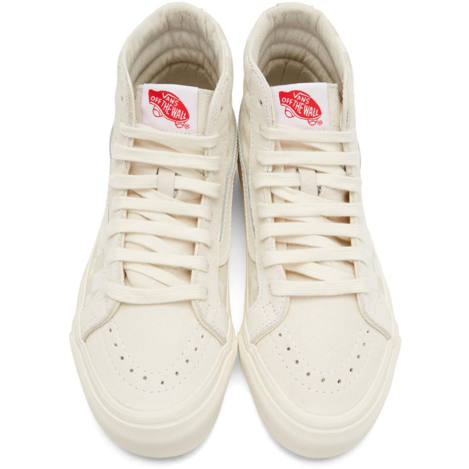 c14f8de54e Lyst - Vans Beige And Off-white Og Sk8-hi Lx Sneakers in Natural