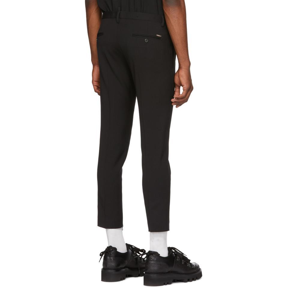 DSquared² Wool Black Skinny Dan Fit Trousers for Men