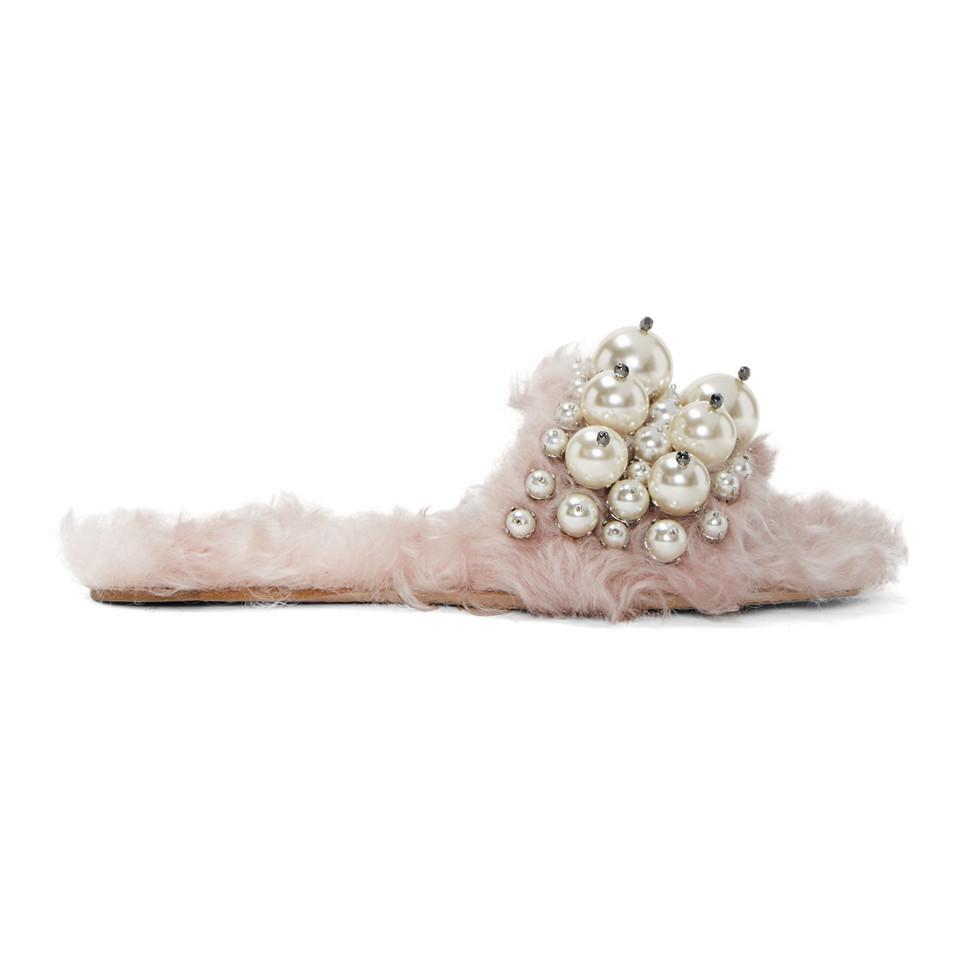 Miu Miu Pink Eco Shearling Pearl Slides QuUfxoPXOs