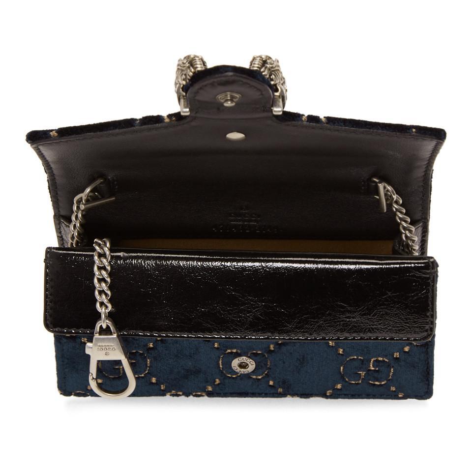 aa144878f3b2 Gucci Blue Velvet Supermini Dionysus GG Wallet Chain Bag in Blue - Lyst