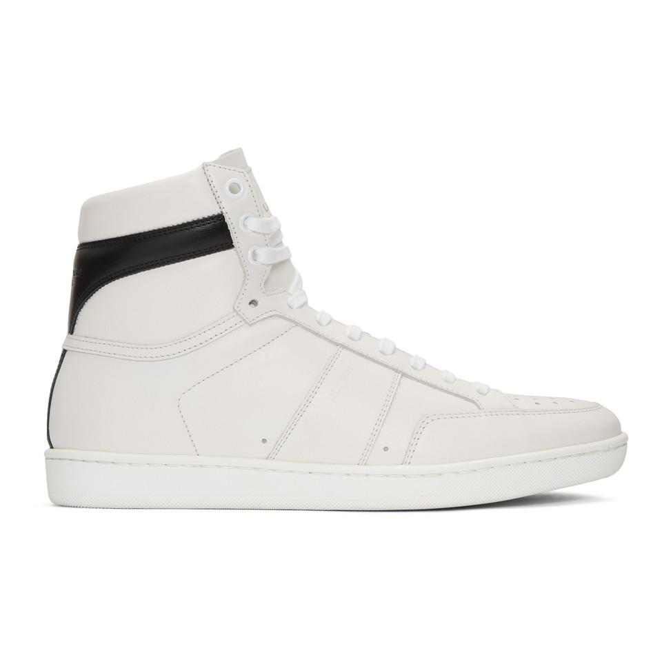 Saint Laurent White Court Classic SL10 High-Top Sneakers