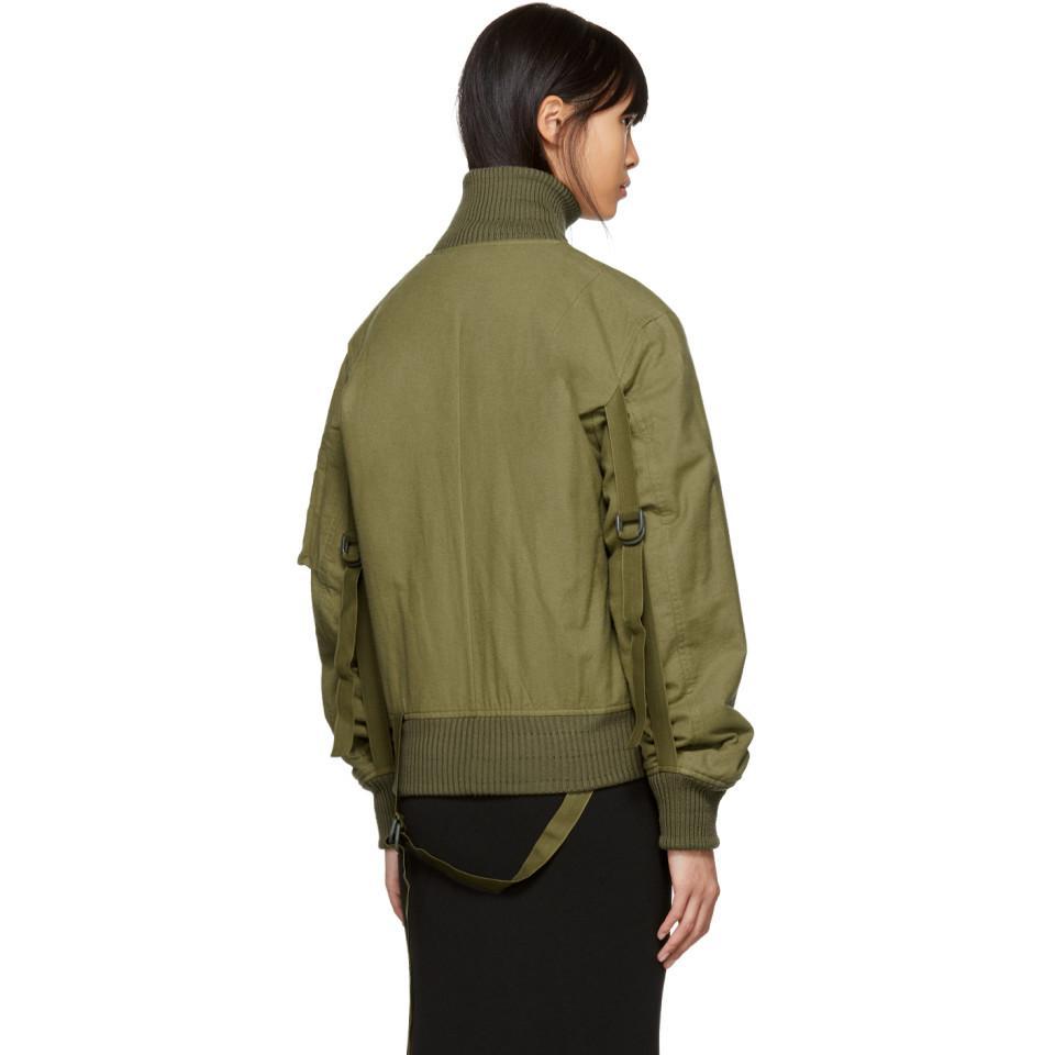 098538bcf Helmut Lang Green Re-edition High Collar Bomber Jacket