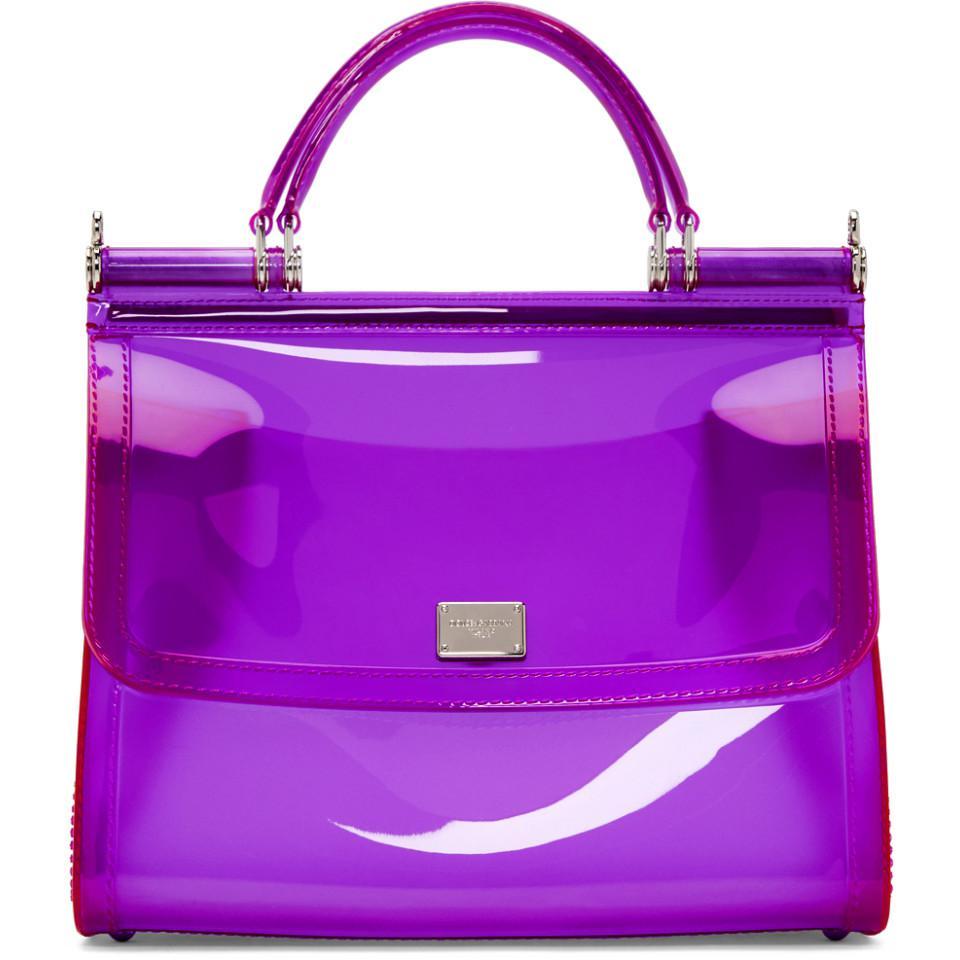 37c6ef4e5078 Lyst - Dolce   Gabbana Purple Small Rubber Miss Sicily Bag in Purple