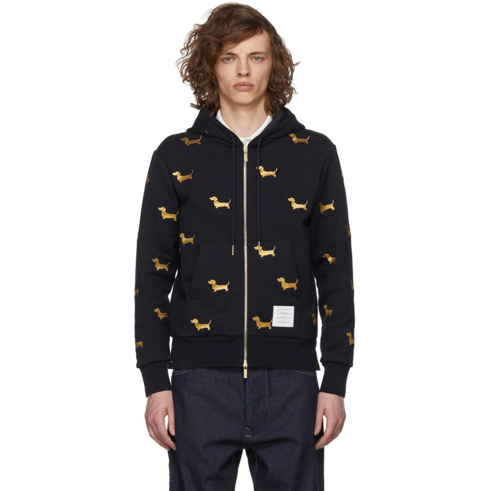 Navy Hector Half-Drop Zip-Up Hoodie Thom Browne Buy Cheap Choice Sale Store Shop For Sale Outlet Store For Sale hZXMB