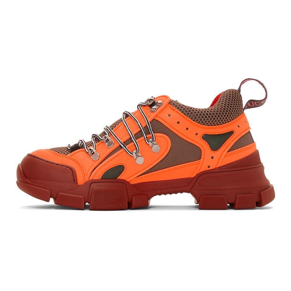 Gucci Rubber Orange Flashtrek Sneakers