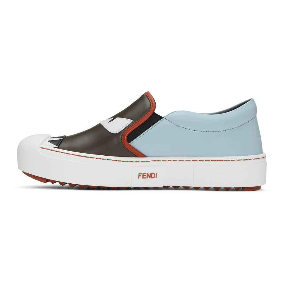 Fendi Leather Grey & Blue 'bag Bugs' Slip-on Sneakers in Charcoal (Grey)