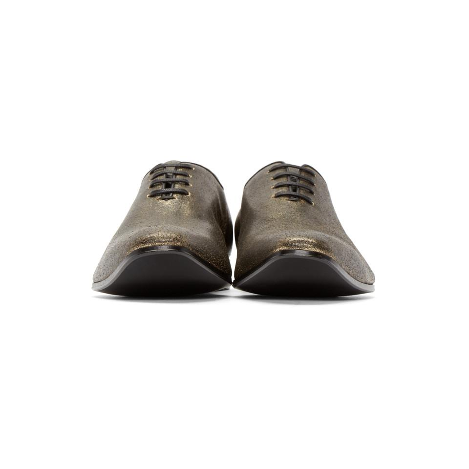 Haider Ackermann Gold And Black Distressed Leather Oxfords in Metallic for Men