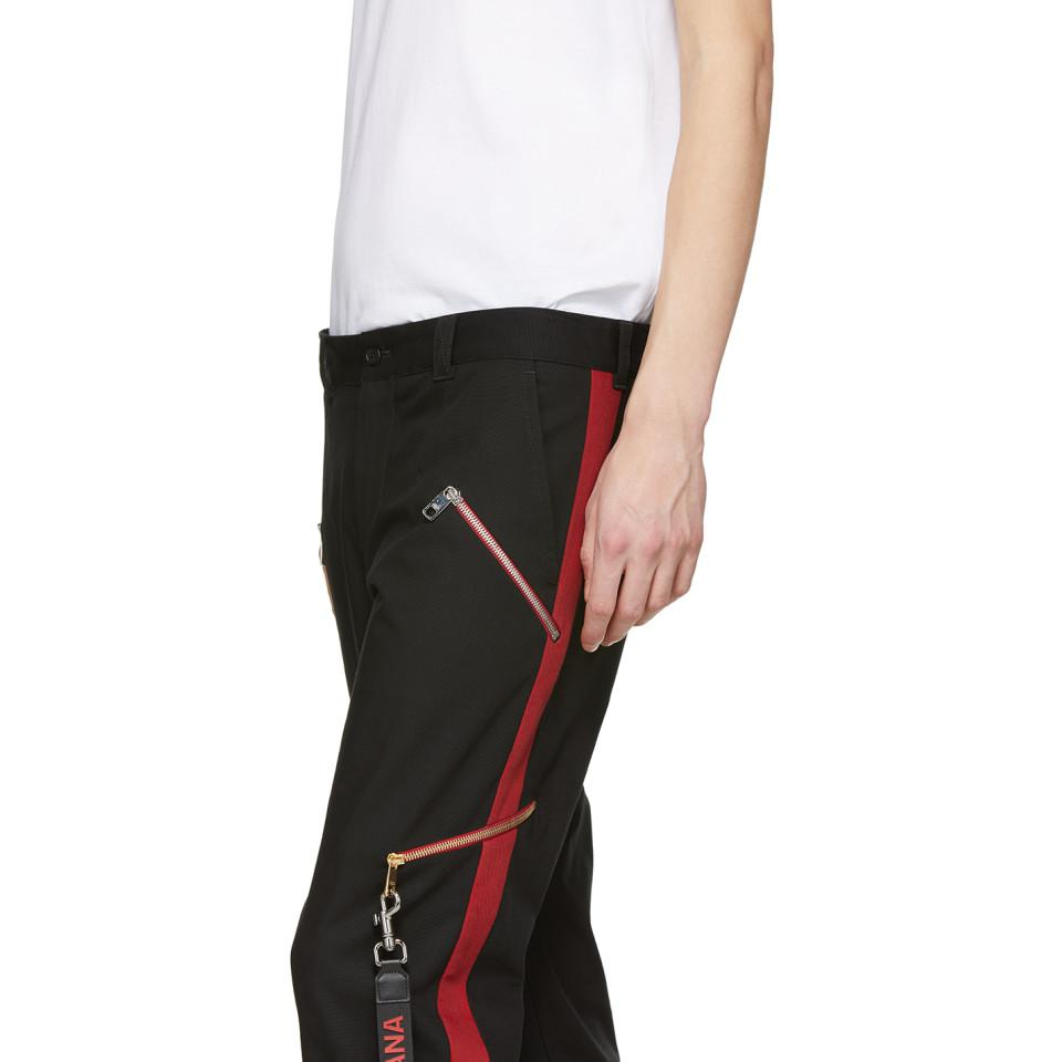 Dolce & Gabbana Cotton Black Cropped Side Stripe Trousers for Men