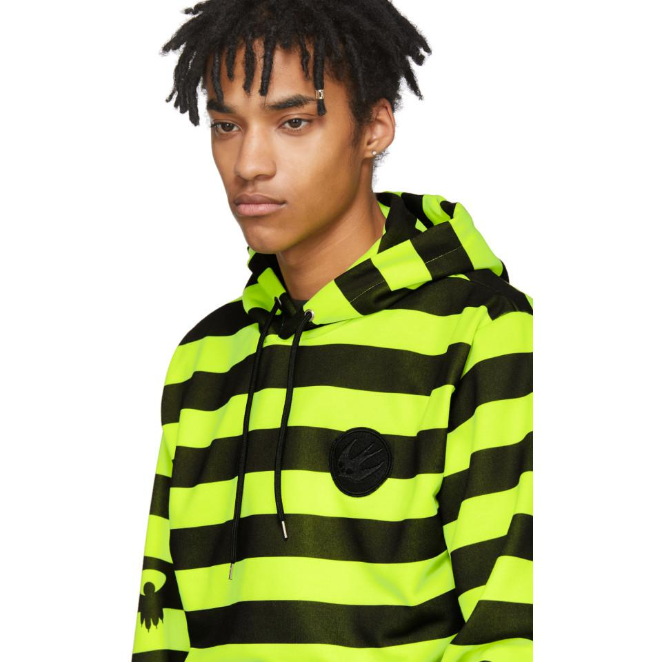 McQ Black And Yellow Monster Stripe Patch Big Hoodie for Men