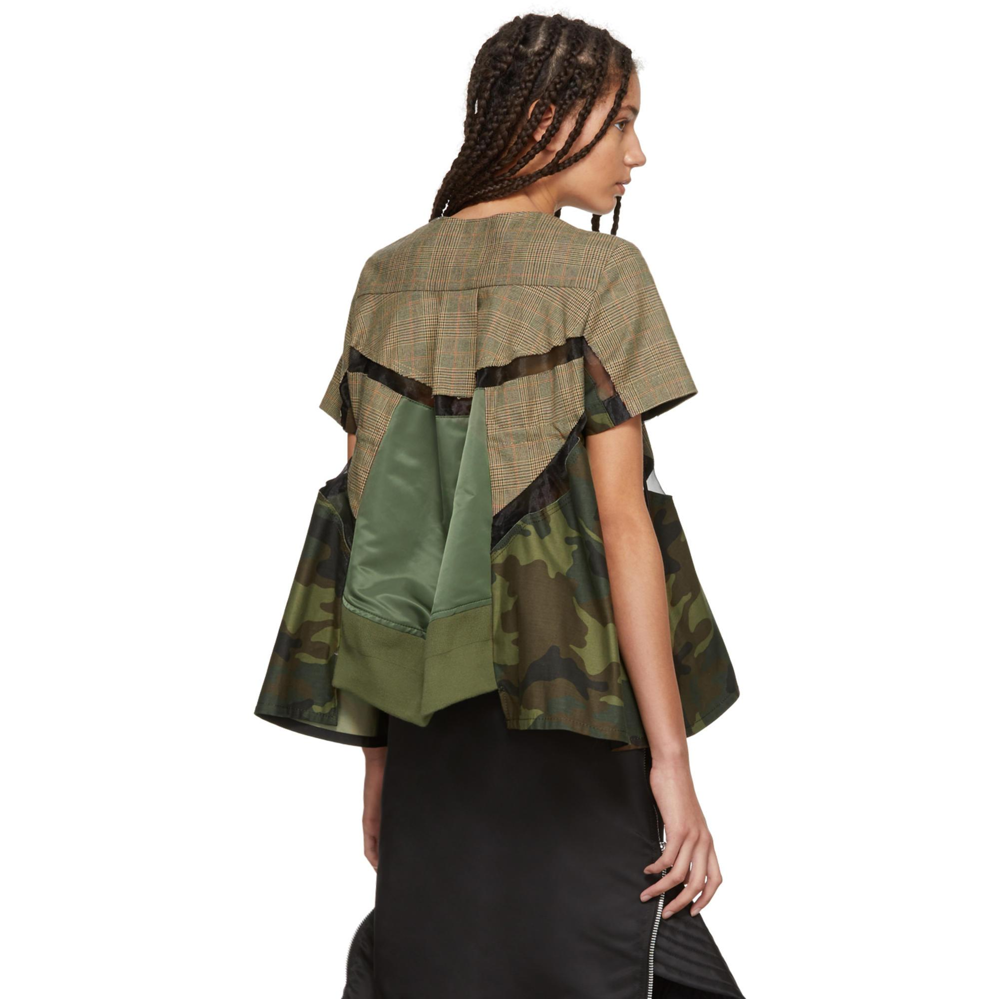 b2bf926d28712 Sacai Beige And Khaki Patchwork Glencheck And Camo Blouse in Natural ...