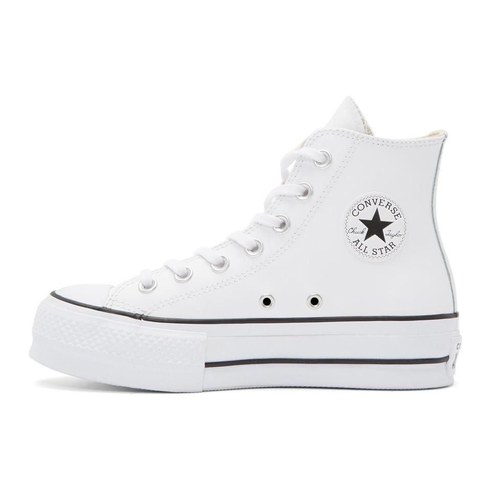 disfruta del mejor precio venta online mejor servicio Converse Leather White Chuck Taylor All-star Lift High-top ...