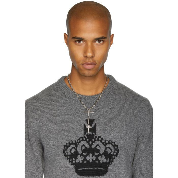 DSquared² Silver Cross Pendant Chain Necklace in Metallic for Men