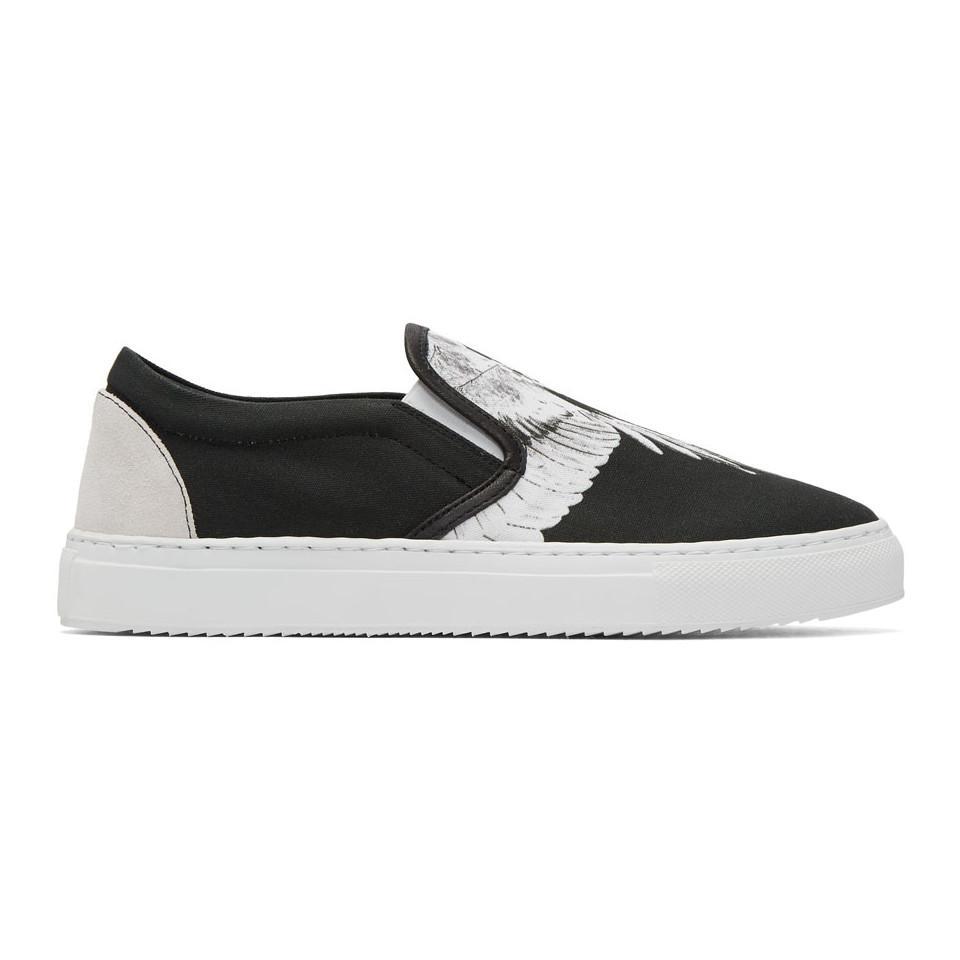 Black and White Snar Wing Slip-On Sneakers Marcelo Burlon pLK9sILK