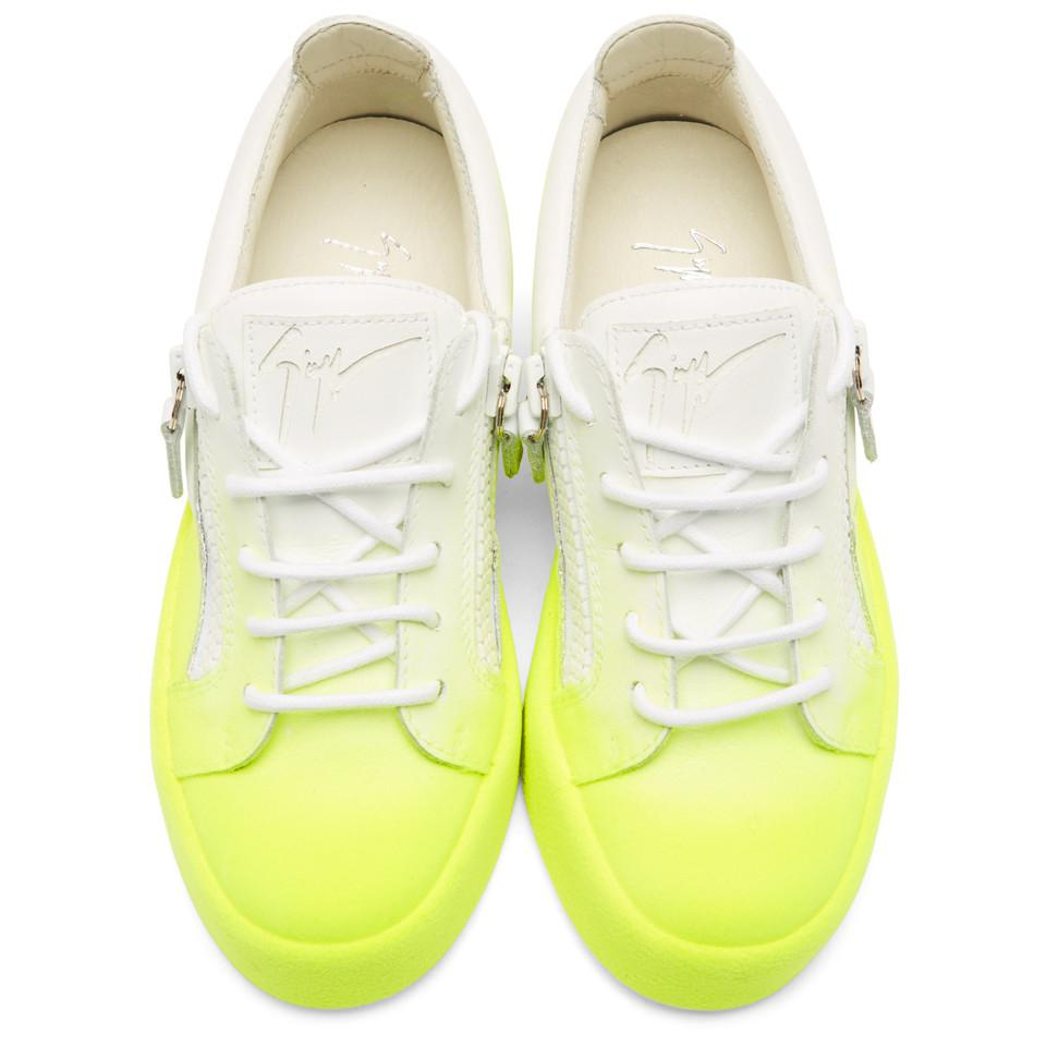 Giuseppe Zanotti Leather White And Yellow Flashy May London Sneakers for Men